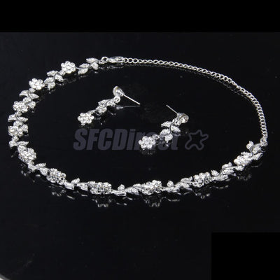 Wedding Bridal Jewelry Set Crystal Flower Leaves Necklace Earring Tiara Headband
