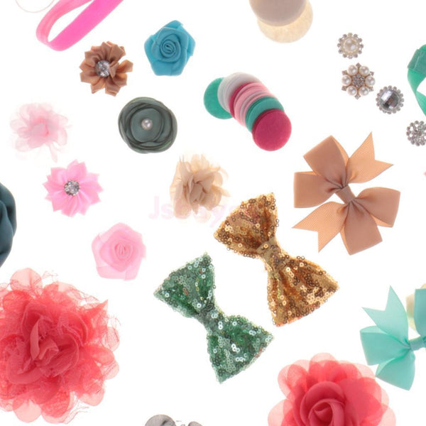 DIY Baby Girl Headwear Headband Barrette Kit Flower Bow Band Craft Hair Clip