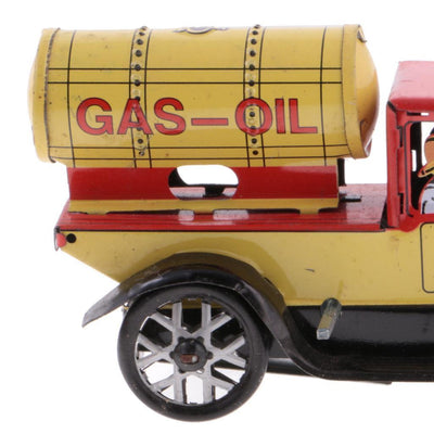 Retro Wind Up Gas-oil Truck w/ Key Clockwork Metal Tin Toys Collectible Gift