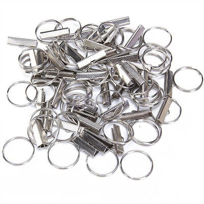"50 Sets 1"" Nickel plated Key Fob Chain Wristlet Hardware Webbing DIY"