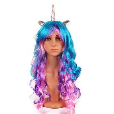 2/set Rainbow Unicorn Horn Long Curly Hair Wigs Girls Fancy Party Costume