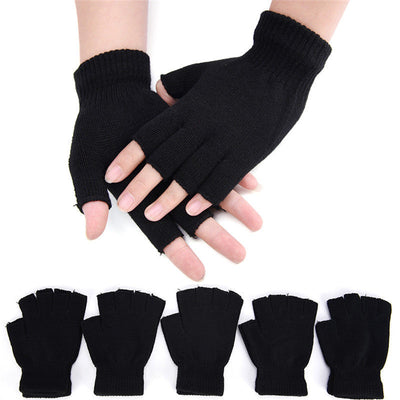 Men Black Knitted Stretch Elastic Warm Half Finger Fingerless Gloves Winter、New