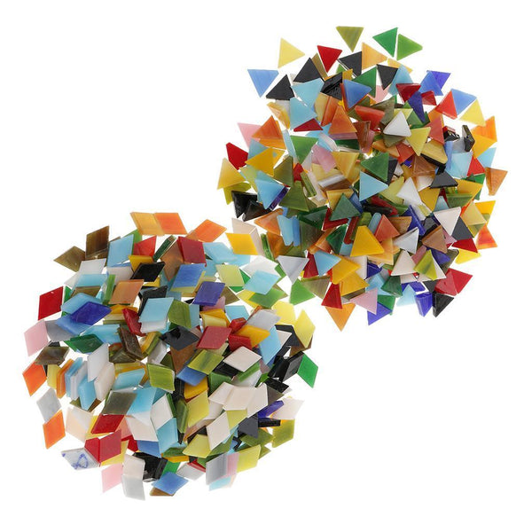 600x Assorted Color Triangle Rhombus Glass Mosaic Tiles for Art Crafts 12mm