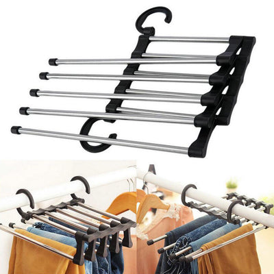 Trousers Pants Jeans Scarf Clothes Hanger Double Hook Rack Organizer