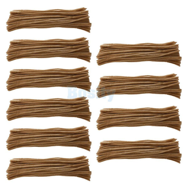 10x100pcs 30cm Chenille Stem Pipe Cleaner Twist-Flex Rods Plush Sticks Brown