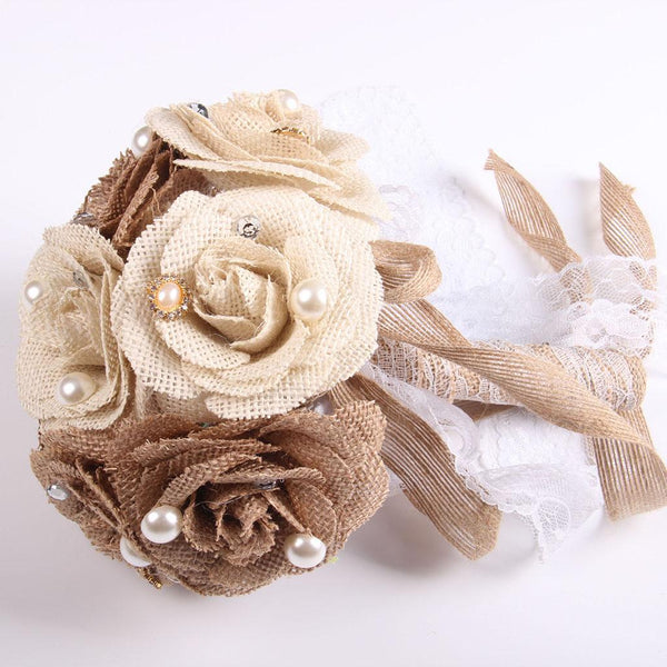 Bride Retro Country Wedding Bouquet Burlap Flowers Lace Shabby Chic Touch