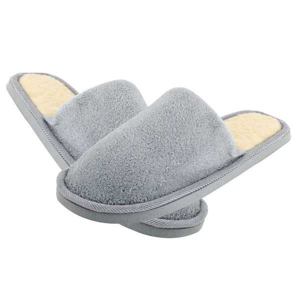 Men Gray Fleeces Soft Warm Slippers UK 8.5 for Feet Length 27 cm SH U6X3