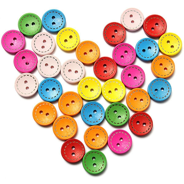 Clothing Buttons Mixed Colorful Wooden 100 pieces 15mm with 2 holes E5Z9 Y5F4