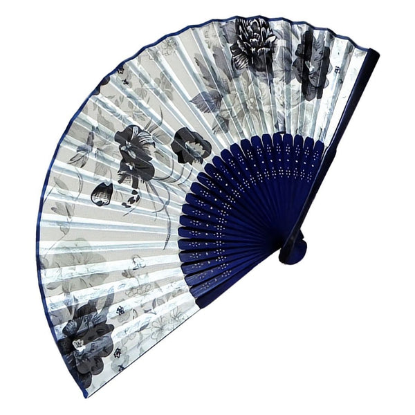 Fabric Chinese Style Floral Pattern Dancing Folding Hand Fan White K6Q1