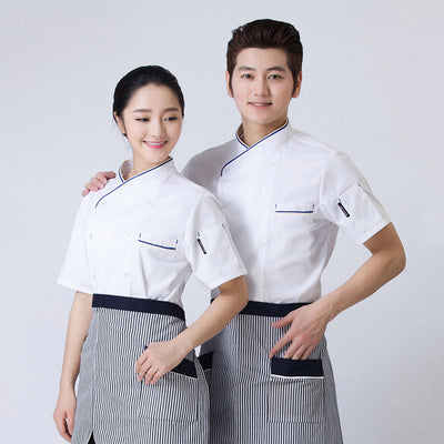 Chef Uniform Kitchen Coat Short Sleeve Hotel Clothes Food Services Workwear