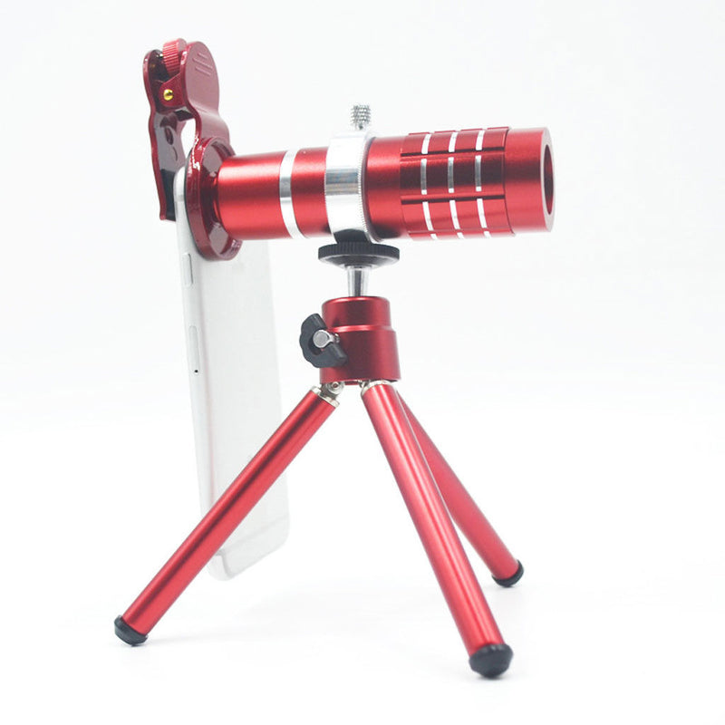 12xOptical HD Telephoto Telescope Camera Lens with Tripod For Cell Phone Red