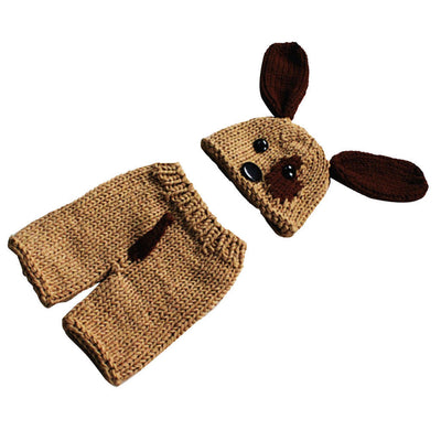 Baby Infant Animal Puppy Dog Beanie Photo Crochet Knit Costume Hat Cap Prop