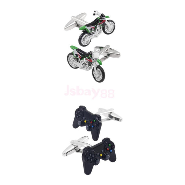 2pcs Creative Game Consoles Handle Cufflinks Shirt Cuff Links Motorcycle
