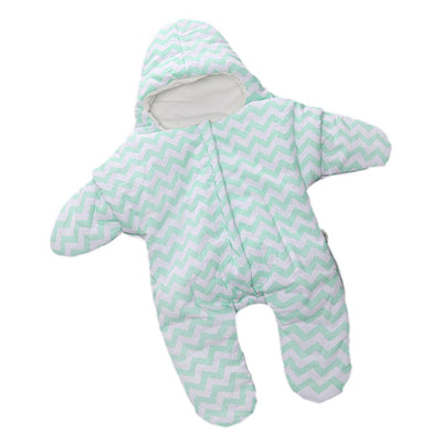 Infant Sleep Suit Bag Sleeping Wrap 95%Cotton for Baby Age 0-12Months Green