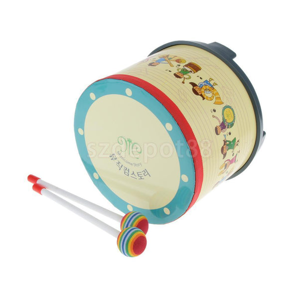 Kids Percussion Floor Tom Drum w Stick Freestanding Child Musical Instrument
