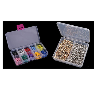 900 Pcs 2 Boxes Colorful Map Tacks Marking Push Pins Plastic Beads Head Pins