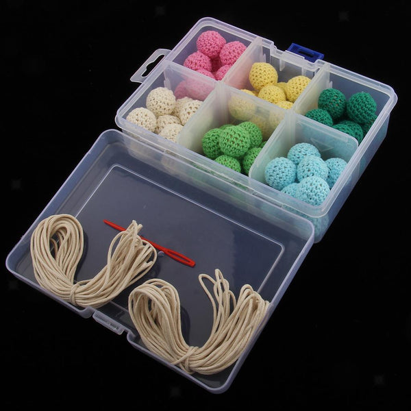 Crochet Beads Round Wooden Beads with 5m Rope DIY Jewelry Baby Teether Toys