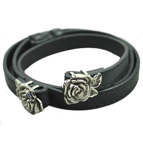 Rose shape, with buckle, leatherette, black, belt, for ladies F9L9