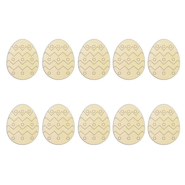 10 Pieces Wooden Easter Egg Wooden Scrapbooking Craft DIY Easter Decoration
