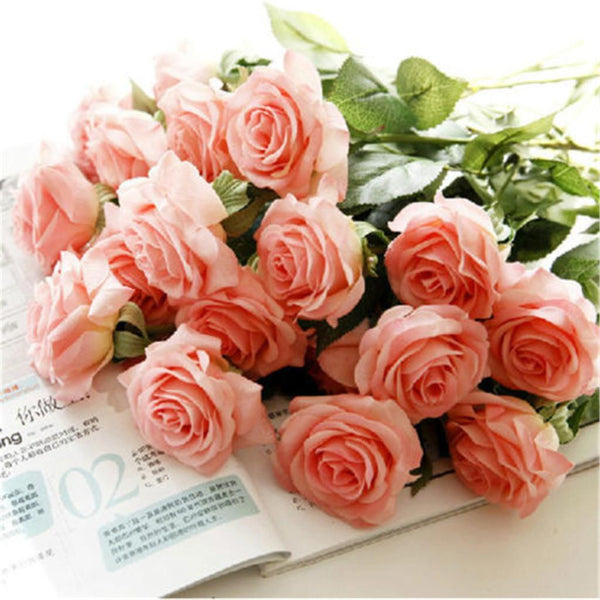 20pcs Artificial Rose Silk Flower Head Bouquet Wedding Party Decor Champagne