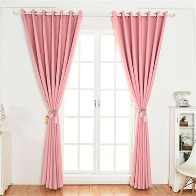 Blackout Curtains for Bedroom - Window Treatment Solid Drape Pink 140x245cm