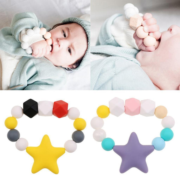 2pcs Toddler Silicone Teething Bracelet Chewable Soother Chain Beads