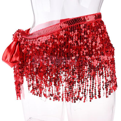 Women's Sequins Tassel Bohemian Hip Scarf Wrap Belt for Belly Dance Red