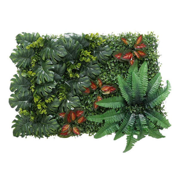 Artificial Foliage Plant Wall Panels Outdoor Patio Floral Decor Red leaves
