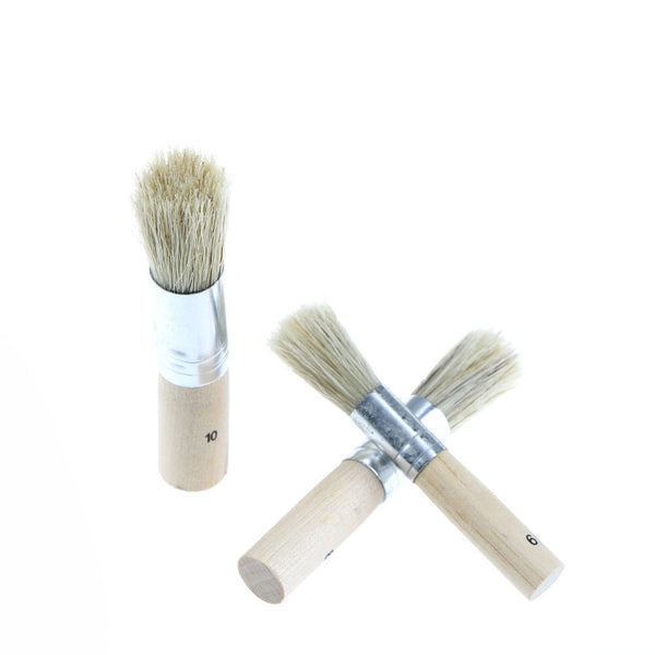 3Pcs Wooden Stencil Brush Hog Bristle Brushes Acrylic Watercolor Oil Painting Wk