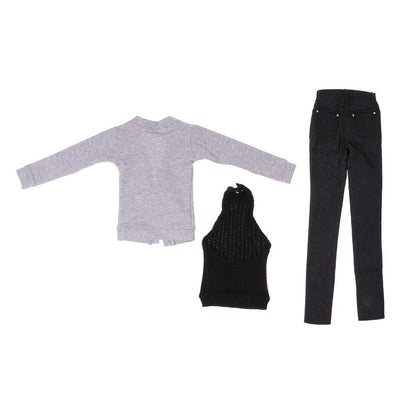 MagiDeal Gray Cardigan Vest Jeans for 70cm Uncle BJD SD17 DZ70 Loongsoul