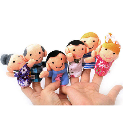 6pcs Family Finger Puppets - People Includes Mom Dad Grandpa Free Cable Tie K5R8