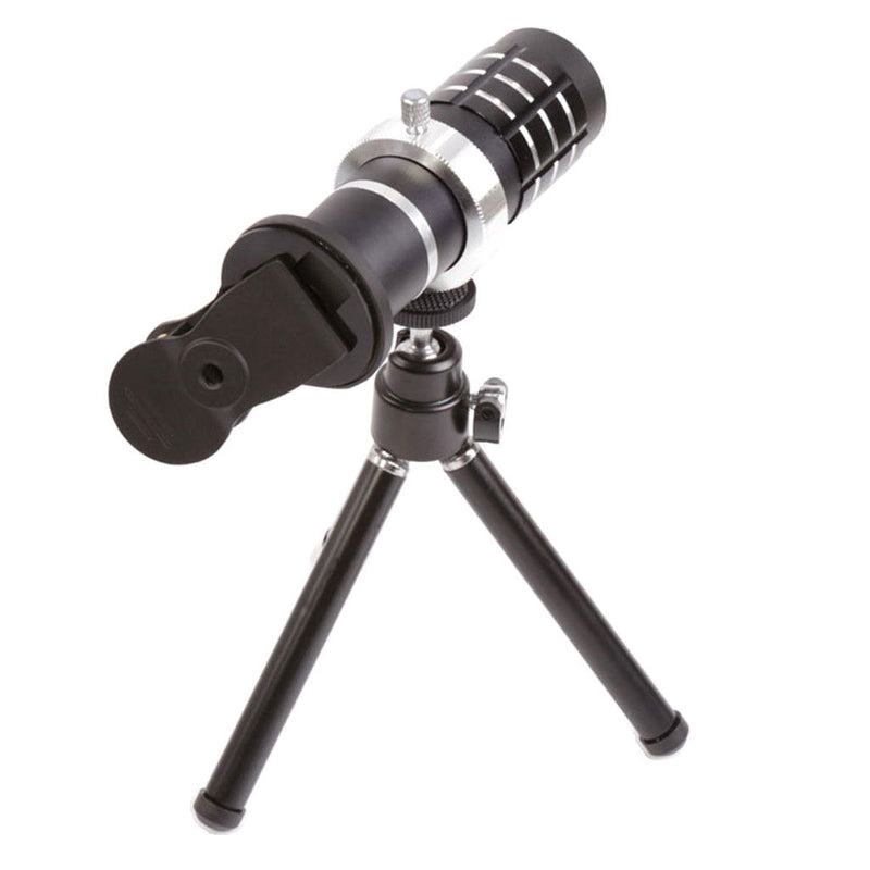 12 X Zoom Telescope Clip Telephoto Camera Lens Tripod For All Phone 8 Black