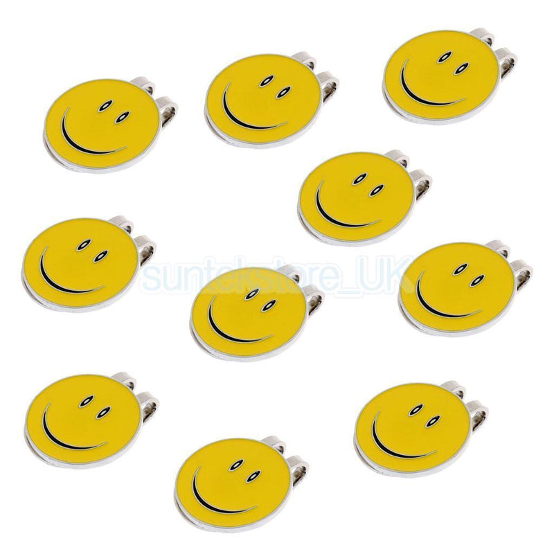 10Pcs Magnetic Hat Clip with Smile Face Golf Ball Marker Clip On Cap Visor