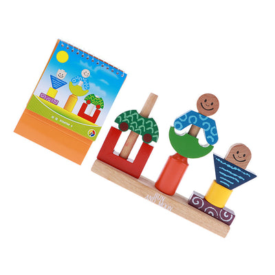 Wooden Baby Geometric Assembled Building Blocks Kids Educational Wooden Toys
