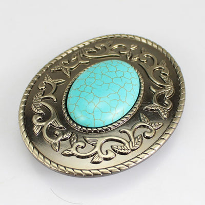 Boho Hippy Turquoise Belt Buckle Head fit Leather Belt Stone DIY Accessories