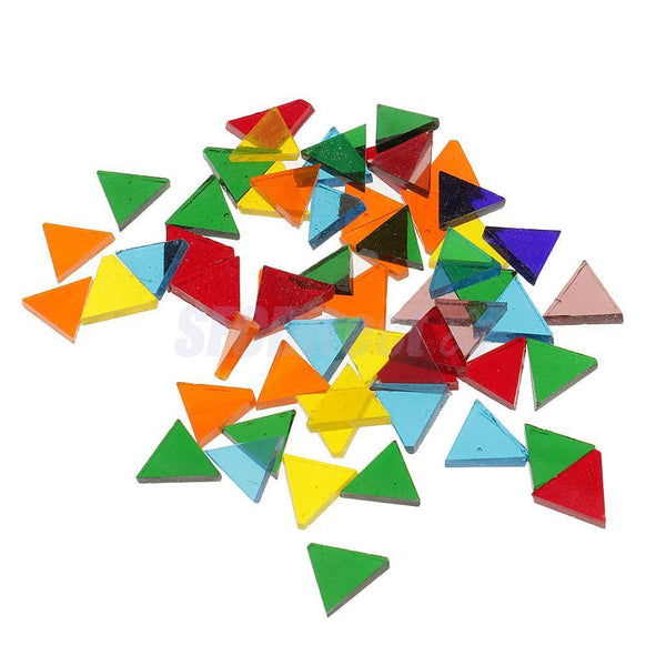 750pcs Assorted Rhombus Triangle Square Glass Mosaic Tiles Pieces DIY Crafts