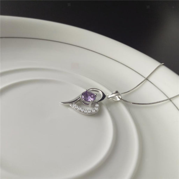 Stylish Love Heart Pendant Necklace with Purple Clear Rhinestone Jewelry