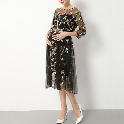 Women Maternity Photography Gown Black Embroider Pregnant Free Size Dress