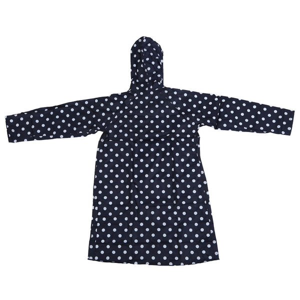 Outdoor Women Waterproof Riding Clothes Raincoat Poncho Pocket Navy Blue N1W6