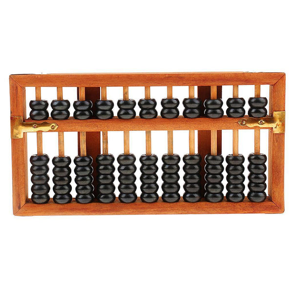 Classic Chinese Wooden Bead Arithmetic Abacus with Box 11 Rods Counting Tool