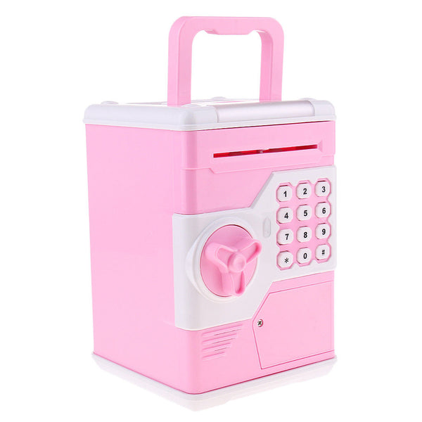 Electronic Portable Cash Money Saving Box Coin Piggy Bank Automatic Pink