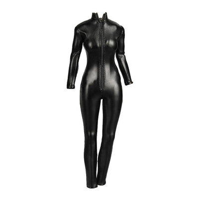"1/6 Black Widow Leather Jumpsuit for 12"" Catwoman Kumik Female Body Hot Toys"