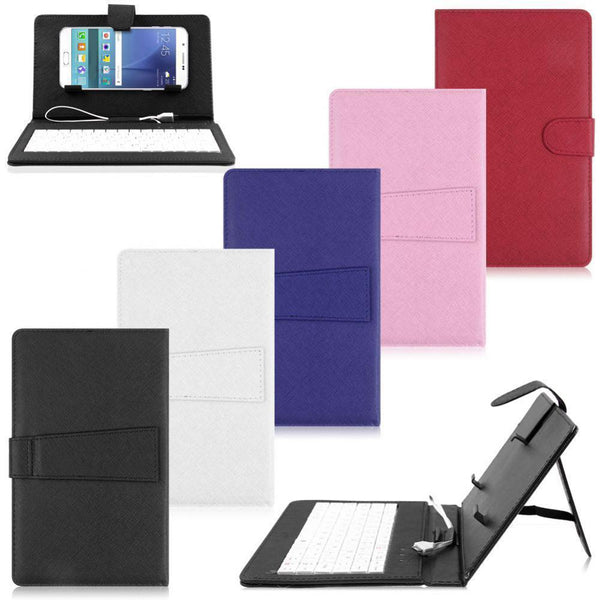 Micro USB Keyboard Leather Tablet Case Flip Stand Cover For Cell Phone Rose
