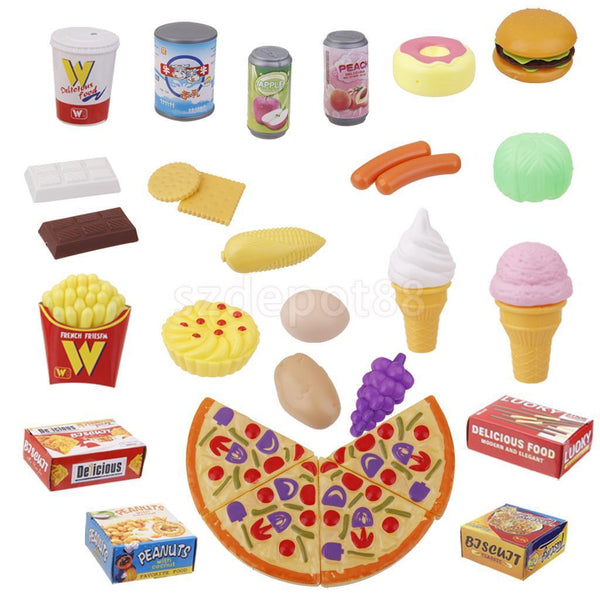 24x Kids Children Kitchen Food Snacks Set Great for Pretend Toys Role Play