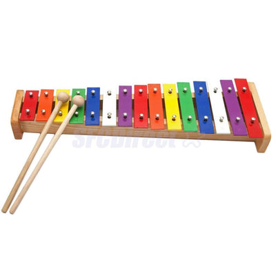 Wood Xylophone Educational Music Toys 15-tone w/ Beater Mallet for Kids Toys