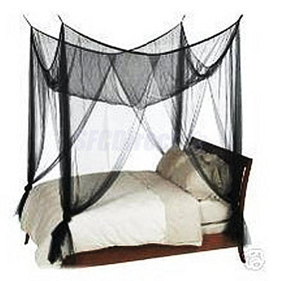 Black 4 Corner Canopy Bed Netting Mosquito Net Full Queen King Size Bedding