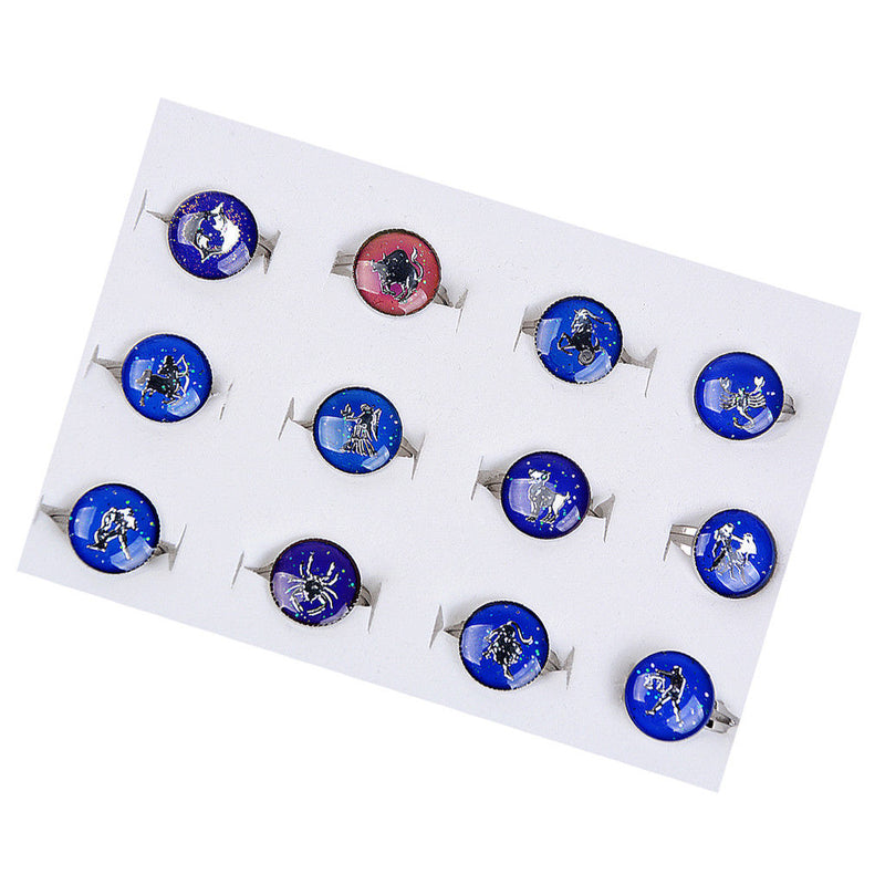 MagiDeal 12pcs Constellation Band Ring Adjustable Size Ring Color Change