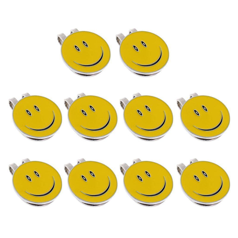 10Pcs Smile Face Alloy Golf Hat Clip Magnetic with Ball Marker Golfer Gift