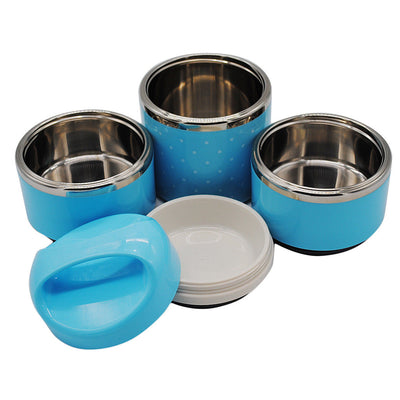 Stainless Steel Insulated Lunch Box 3 Layer Bento Stacking Travel Blue