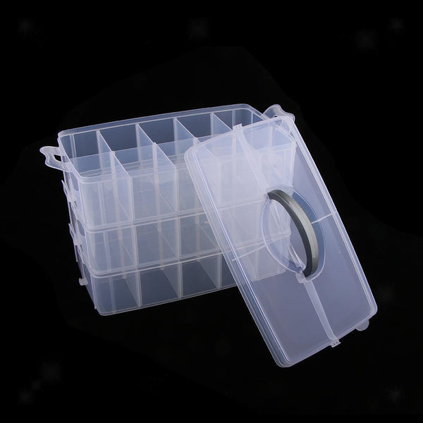 Clear Adjustable Compartment 3Tiers Large Plastic Storage Box Divider Handle
